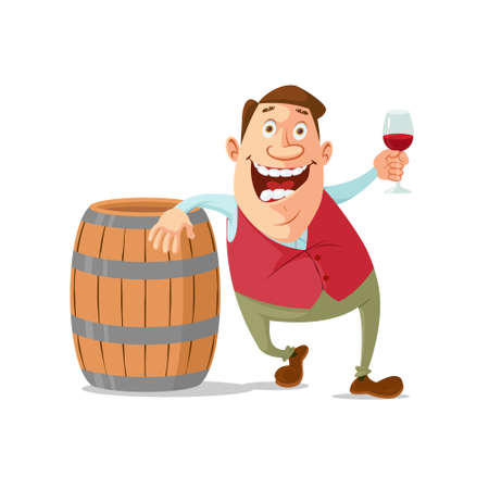 winemaker with wine glass and wooden wine barrel
