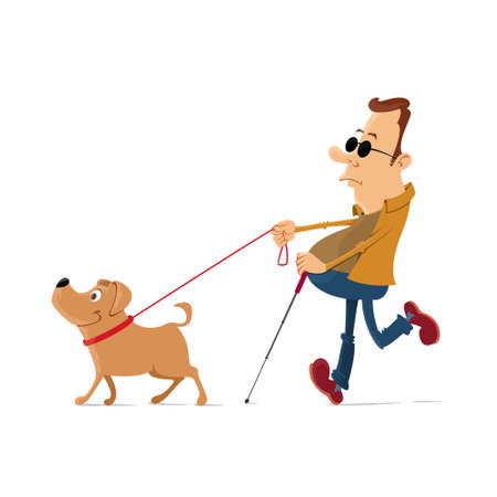 Blind man walking with help of guide dog