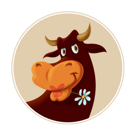 illustration of a cute cow chewing a white daisy