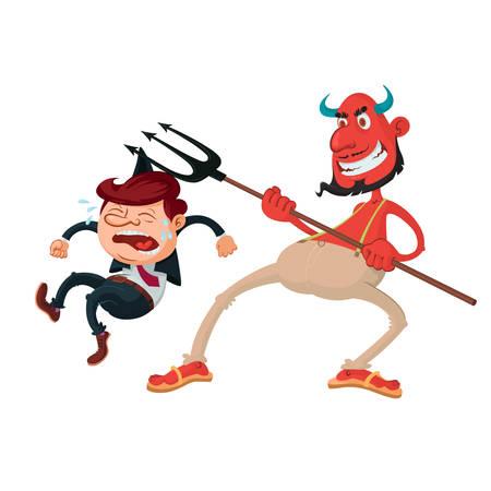 Devil with a pitchfork and weeping sinner, vector illustration Illustration
