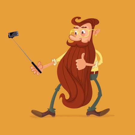 Bearded man holding selfie stick mobile phone shooting self portrait photo