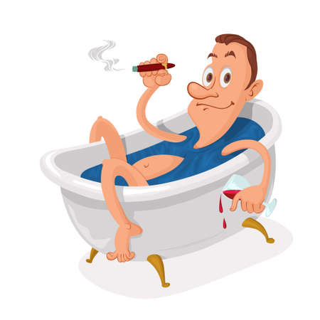 Man with cigar relaxing in a bathtub