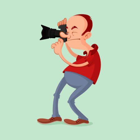 'catch the moment': Photographer with camera catch the moment. Vector cartoon.