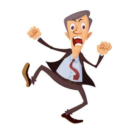 Cartoon businessman get angry and stomping feet