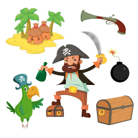 Pirate set in cartoon style. Island, chest, pirate, parrot cannonball pistol