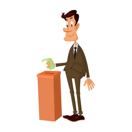 Young man voting Illustration