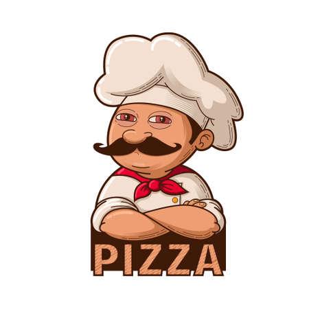 Emblema di divertente chef sorridente, fumetto illustrazione Vettoriali