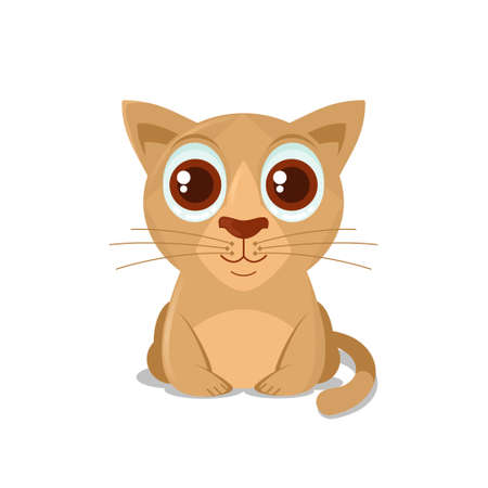 Vector illustration of cat sits on a floor