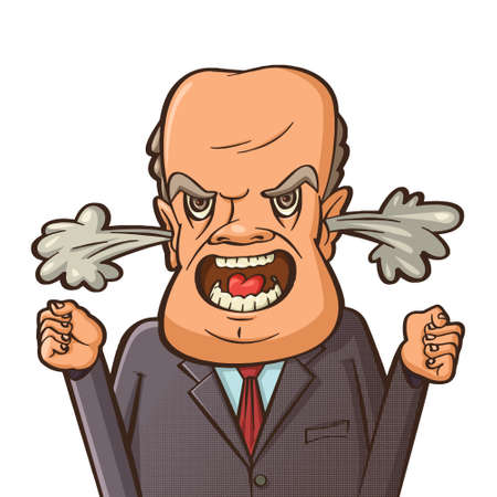 Angry businessman shouting.