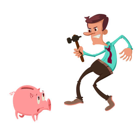 Man holding hammer and catching a piggy bank with fear expression on its face.