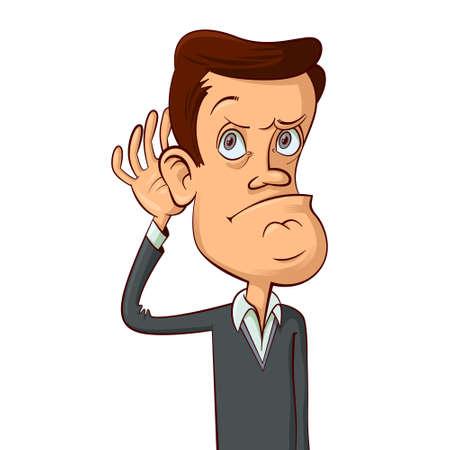 Man holds his hand near ear, cartoon illustration