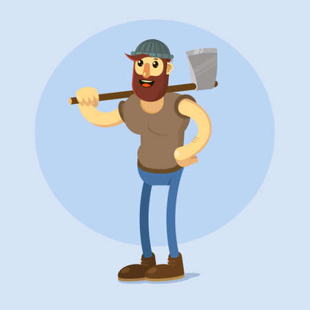 logging: Lumberjack with big axe. Vector cartoon illustration.