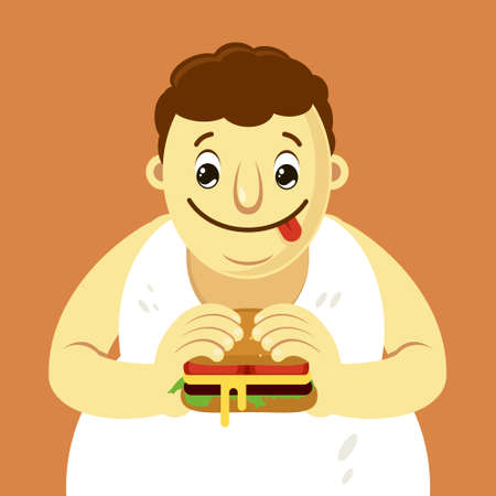 Fat man holding a hamburger in his hands