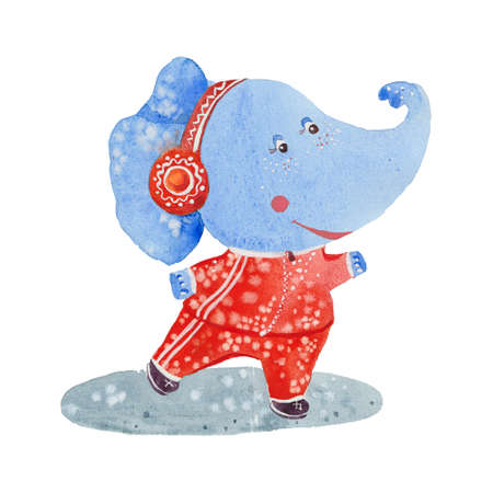 elephant in a sports suit, watercolor illustration  on white background Stock Photo