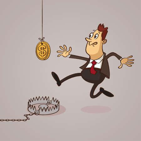 Money trap. Finance risk concept. Cartoon Illustration