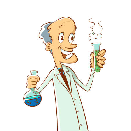 Scientist holding a test tube. Successful experiment. Cartoon illustration