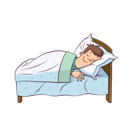 Cartoon man sleep covered blanket in bed