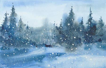 watercolor winter  landscape Stok Fotoğraf - 117814881