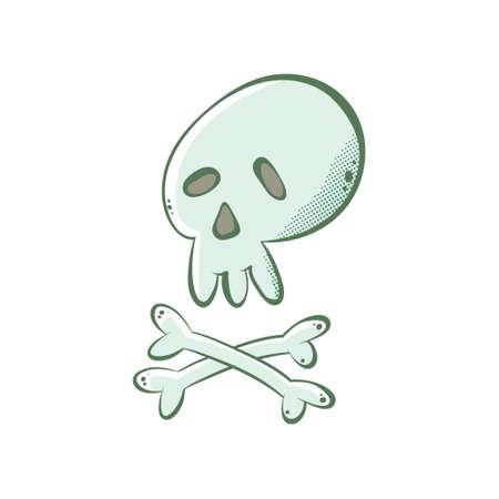 Cute cartoon skull and crossbones, vector illustration