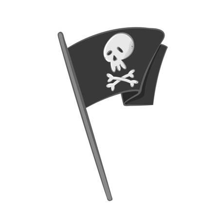 Isolated waving pirate flag. Cartoon vector illustration.