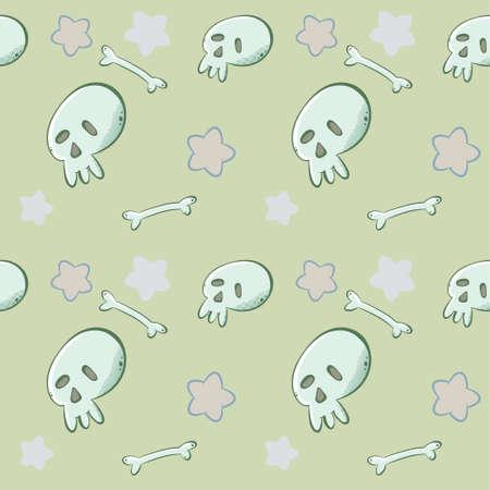 Cartoon vector skull seamless pattern. Human anatomy. Modern geometric pattern.