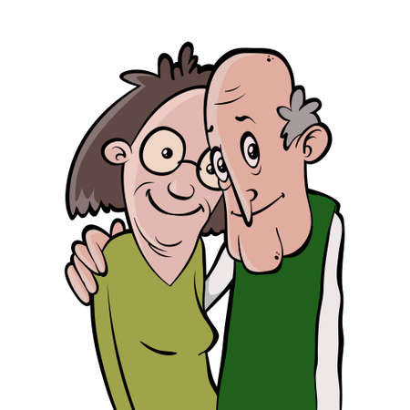 Smiling senior couple. Vector cartoon character. Happy retirement