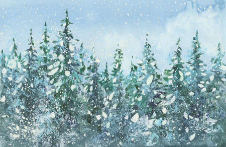 Beautiful  winter landscape with snow covered trees. Holiday Winter background for Merry Christmas and Happy New Year. Watercolor illustration