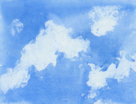 blue  sky with white clouds, watercolor illustration  Stok Fotoğraf