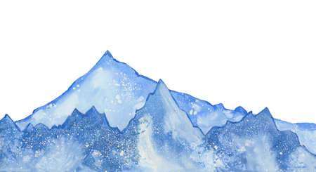 watercolor snow  peaks 写真素材