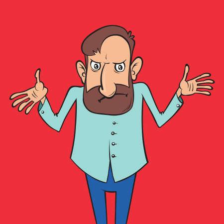Man shrugs. Funny cartoon character. Vector illustration