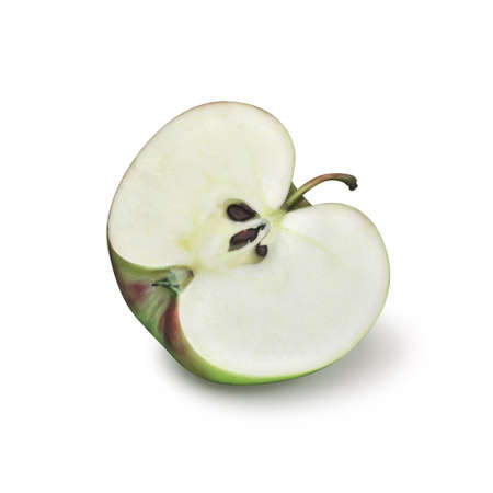 Half green apple