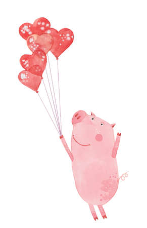 Piggy and balloons. Hand drawn watercolor painting. Illustration on white background