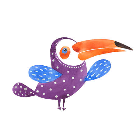 Purple toucan. Hand drawn watercolor painting.Illustration on white background