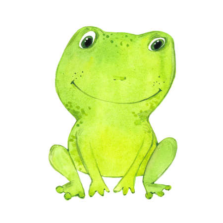 watercolor funny frog 写真素材