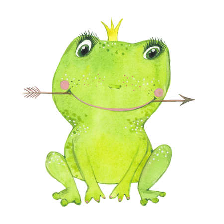 Cute green princess frog. Hand drawn watercolor painting.illustration on white background.