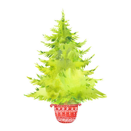 Watercolor Christmas tree. Happy New Year Winter illustration