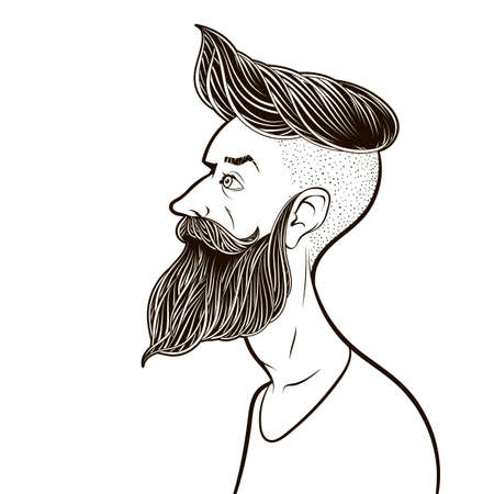 Bearded man. Hipster style. Black and white vector.