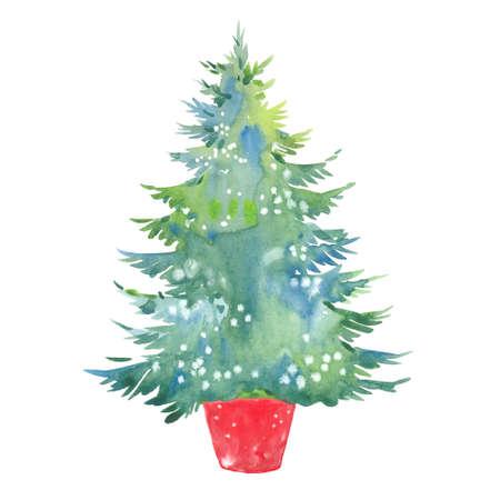 watercolor Christmas tree Reklamní fotografie