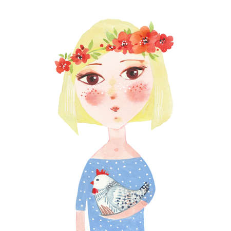 Girl in a flower wreath and with a chicken in her hands. Hand drawn watercolor painting. Illustration on white background