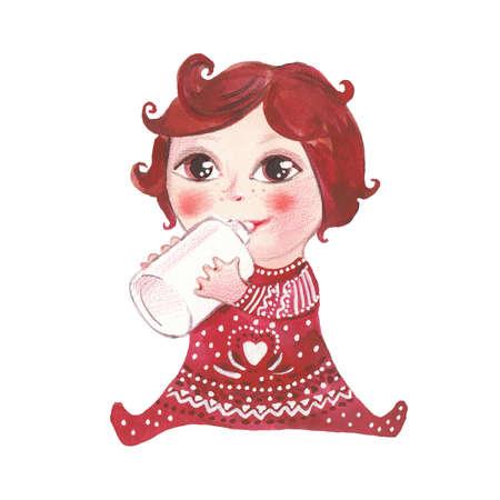 baby drinks milk
