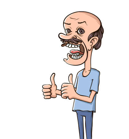 Balding happy man. Like finger sign. Cartoon thumb up. Vector illustration.