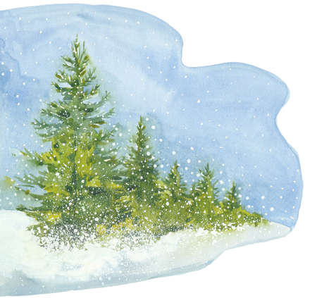 Spruce forest. Holiday Winter background for Merry Christmas and Happy New Year design