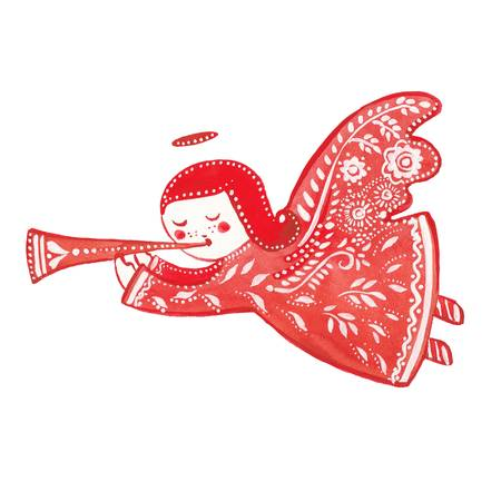angel with a trumpet, watercolor illustration on white background Stock Photo