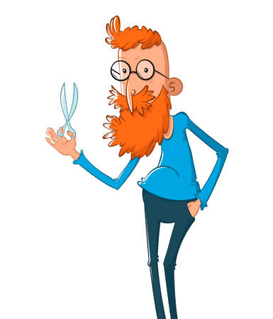 Cartoon vector character of hairdresser with scissor. Profession, occupation. Hairdresser service.