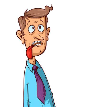 Cartoon man shows tongue. Facial expression. Unhappy character.