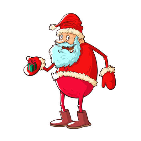 Santa claus with gift on white Ilustrace