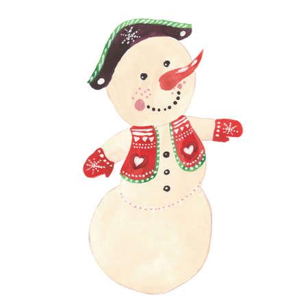 Cartoon character snowman. Winter season. Watercolor illustration on white background. Reklamní fotografie - 139232796