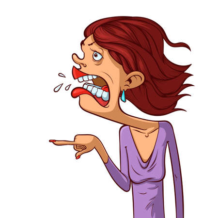 Angry woman in cartoon style. Screaming mouth. Vector character illustration.