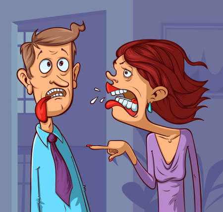 woman yelling at a man Ilustrace