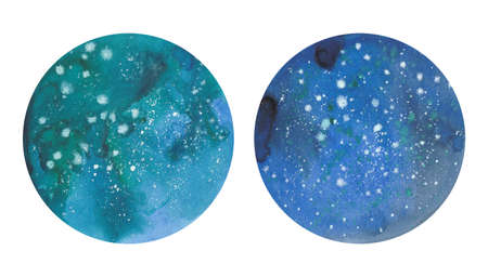 Starry sky. Hand drawn watercolor painting. Illustration of two watercolor circles on white background